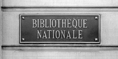 An engraved Bibliothèque nationale sign.
