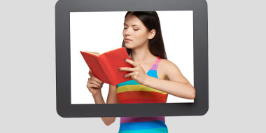 A woman holds an open book across a screen frame. Title=